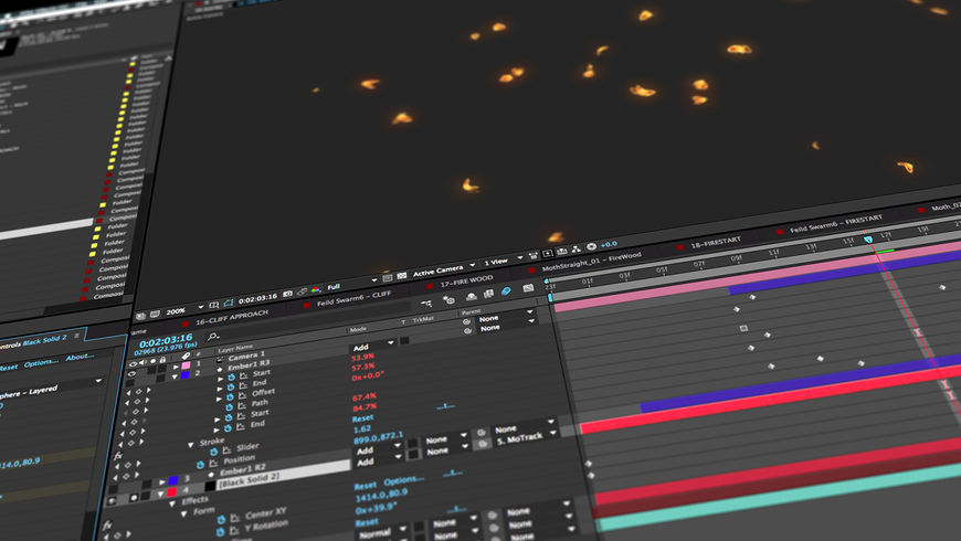 IMAGE: Screenshot – flutter of glowing moths being animated