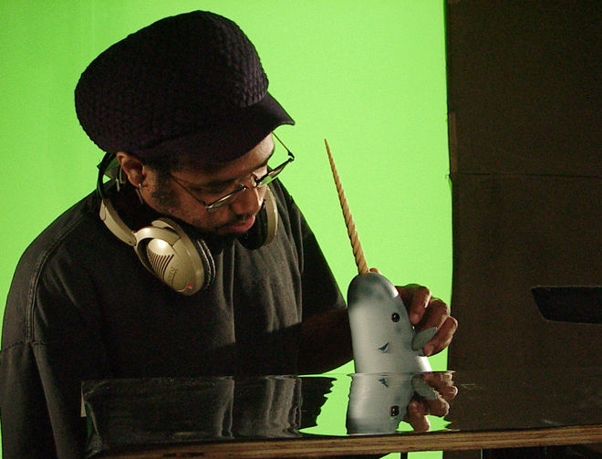 IMAGE: Photo – Musa Brooker animating Narwhal - close