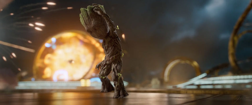 IMAGE: Still - 12 Groot on his own, looking down dancing