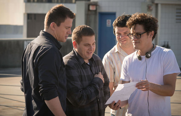 "Image: Christopher Miller and director Phil Lord on the set of ""22 Jump Street"""