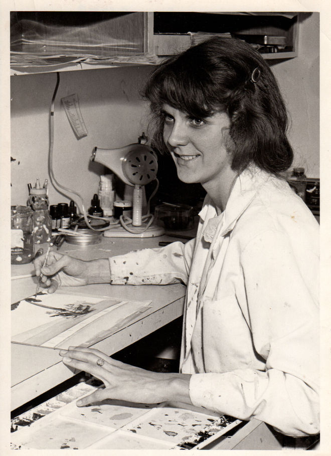 IMAGE: Photo of Sally Cruikshank at Snazelle Films, 1978